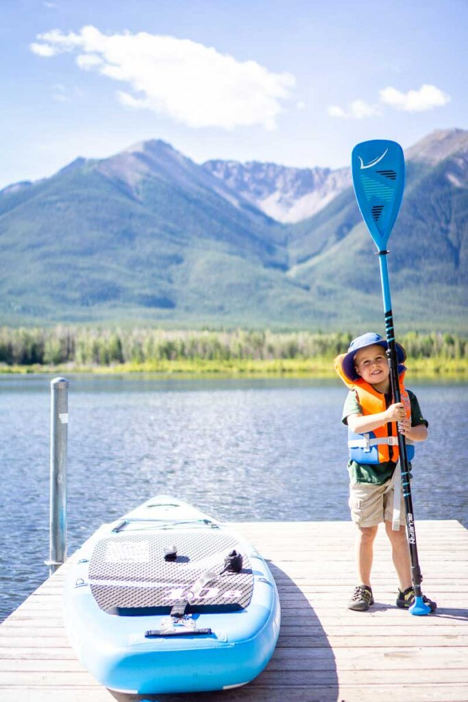 stand up paddle boarding in Banff from docks on Vermilion Lakes