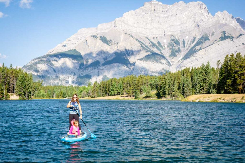 Stand up paddle boarding in Banff on Johnson Lake