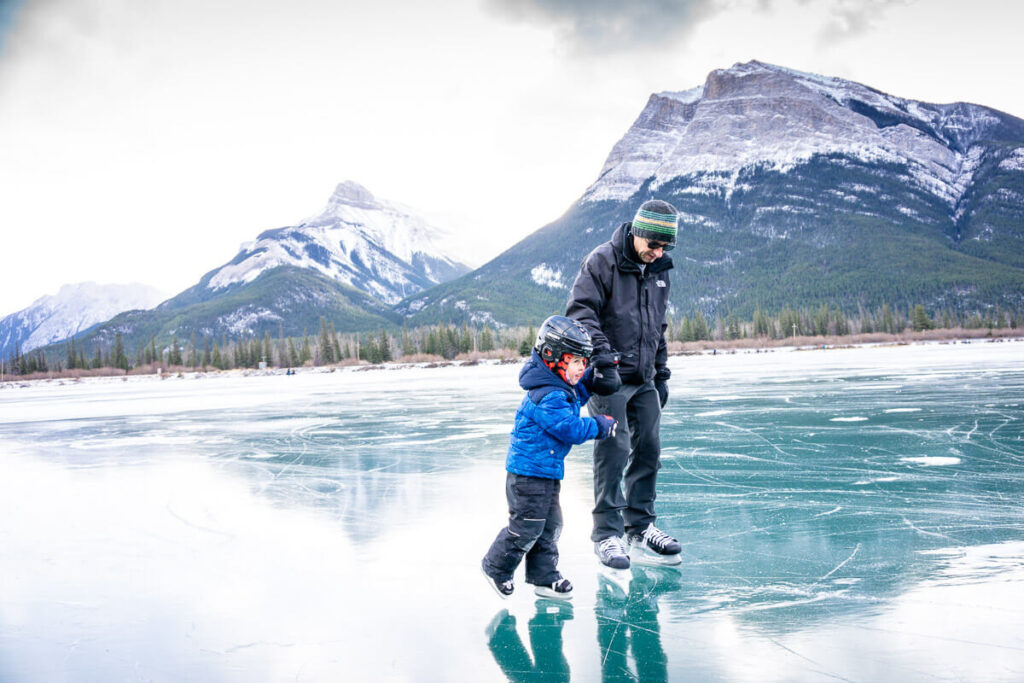 skating in banff with kids