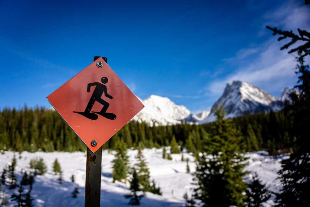A snowshoeing sign in Kananaskis Country