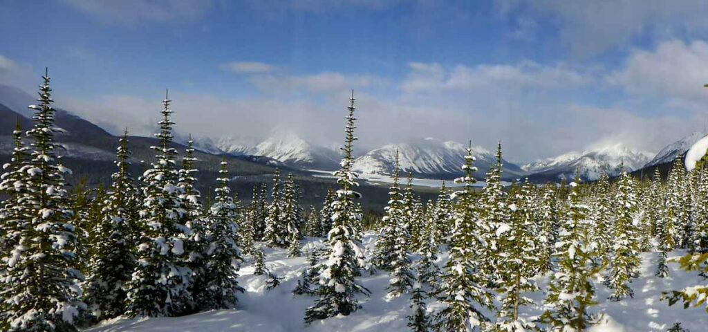 The views of the Spray Lakes from the Rummel Lake snowshoe trail in Kananaskis in December