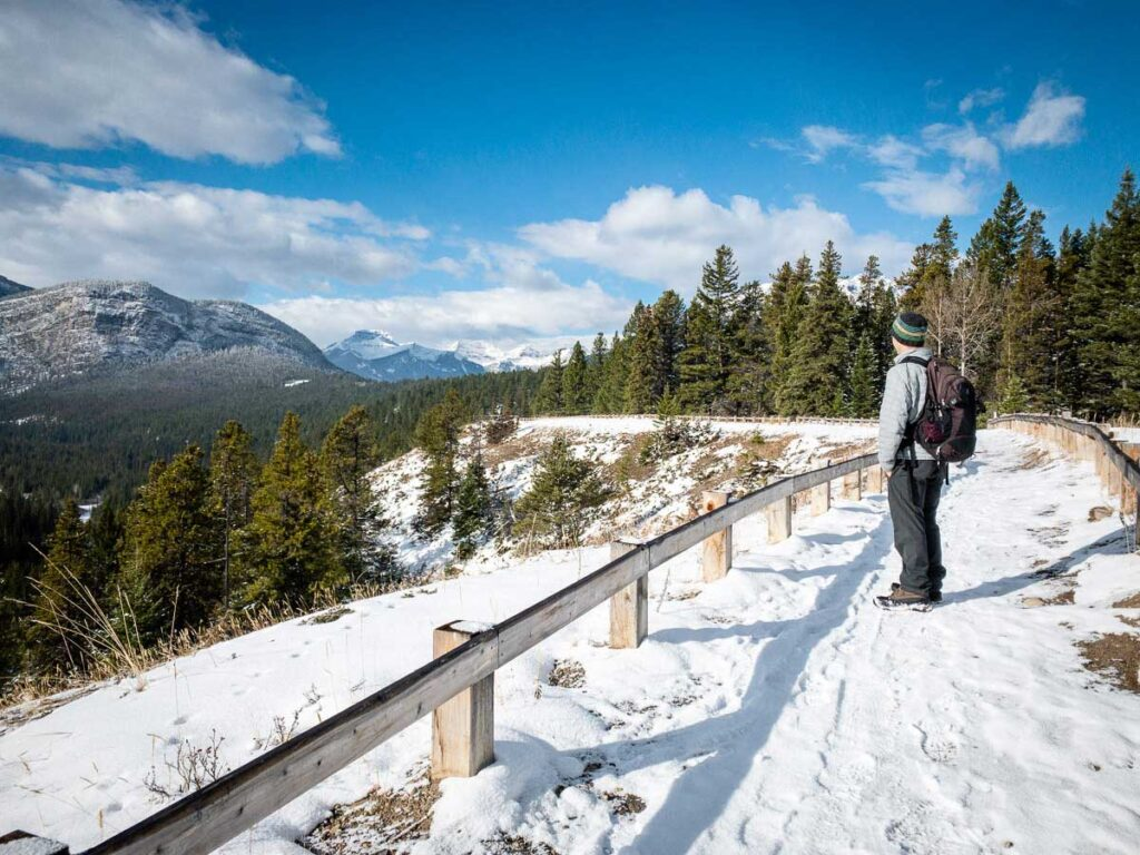 Enjoying the view of Tunnel Mountain while winter walking in Banff
