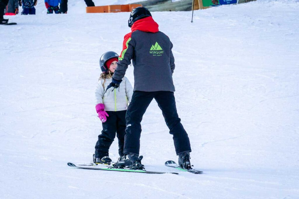 Ski lessons at Mt Norquay in Banff in December