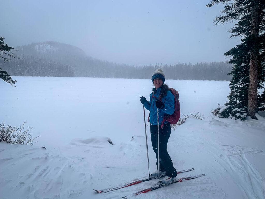 Cross-country skiing to Watridge Lake in Kananaskis, Alberta, Canada