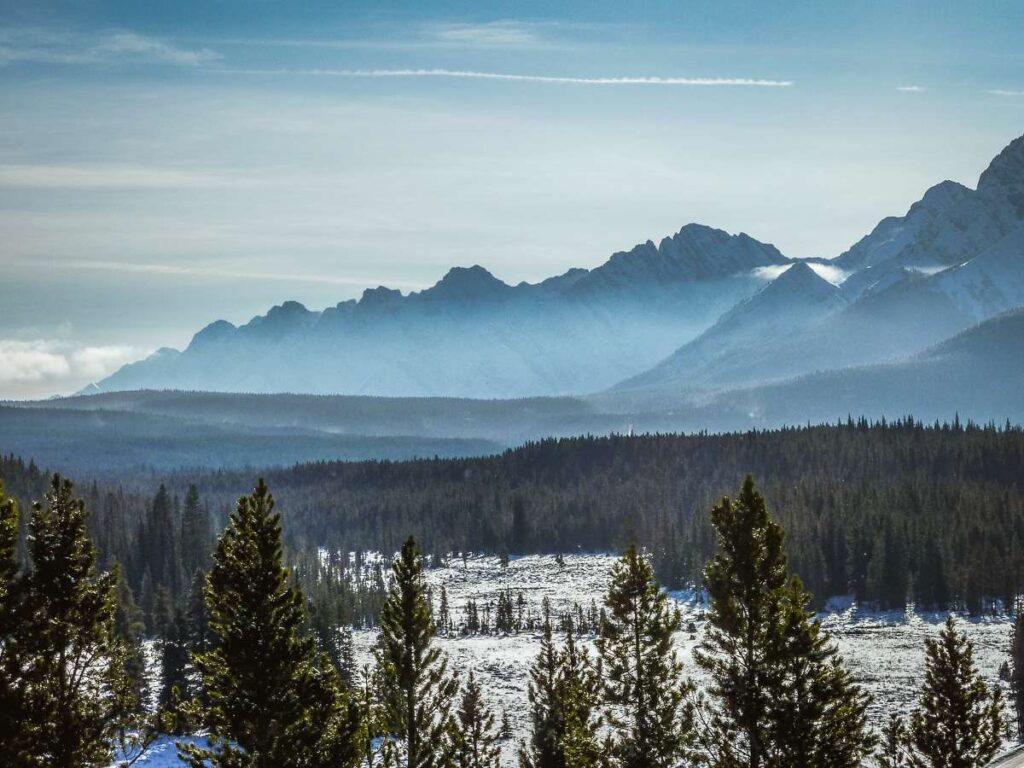 Enjoy excellent views of the Canadian Rocky Mountains while snowshoeing in Kananaskis in January
