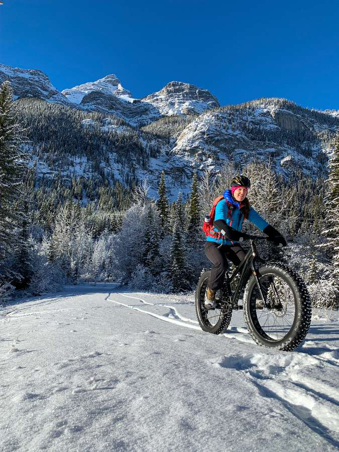 Fat biking in December is a lot of fun in Kananaskis Country