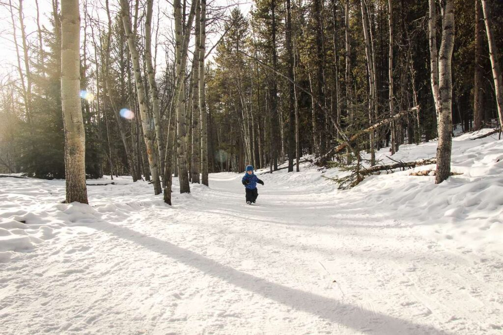 A toddler enjoys the Troll Falls winter hike in Kananaskis Country
