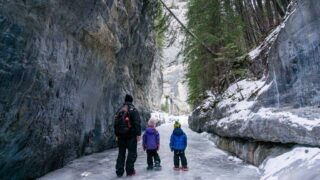 The Grotto Canyon icewalk is a kid-friendly thing to do in Kananaskis in winter
