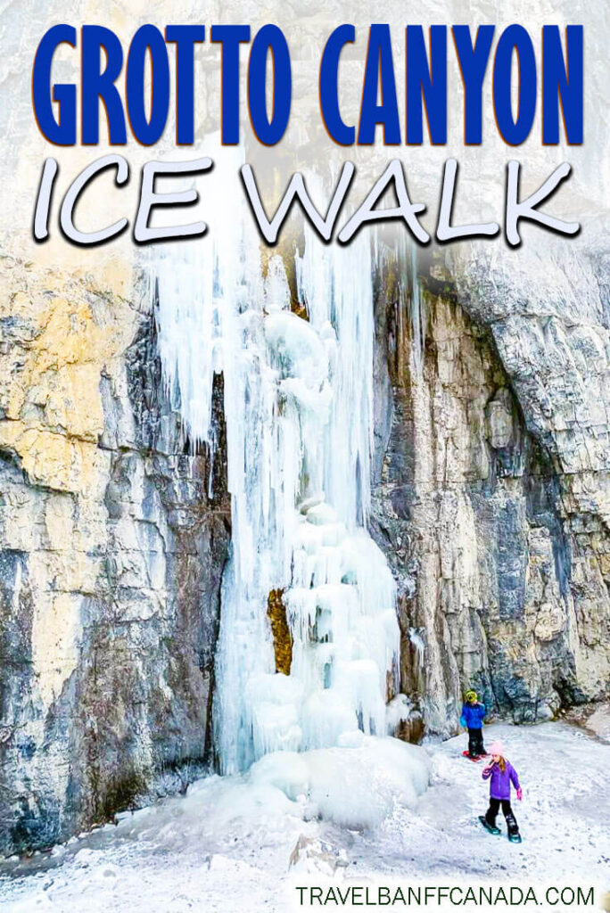 Don't miss this incredible Kananaskis winter hike. Grotto Canyon Ice Walk is fun for the whole family, as you hike on ice up to a waterfall. One of the best winter hikes in Kananaskis. - Grotto Canyon Ice Walk