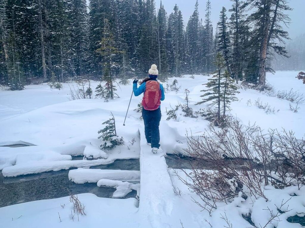 Cross-country skiing to Watridge Lake then winter hiking Karst Spring Trail is a fun day trip to Kananaskis in winter