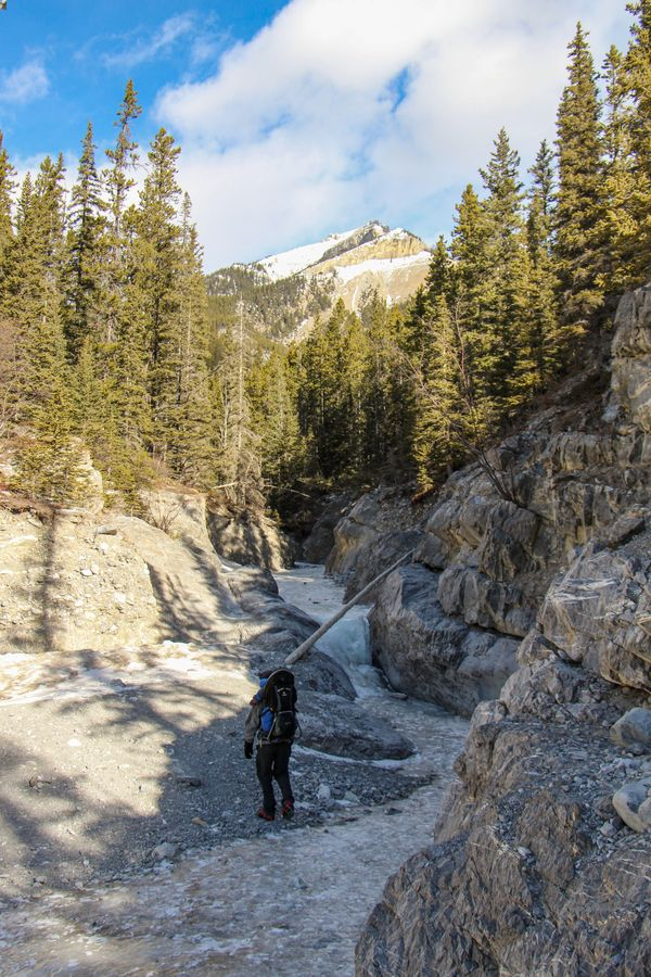 Hiking Grotto Canyon in winter