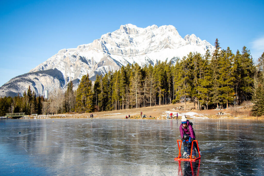banff ice skating - johnson lake