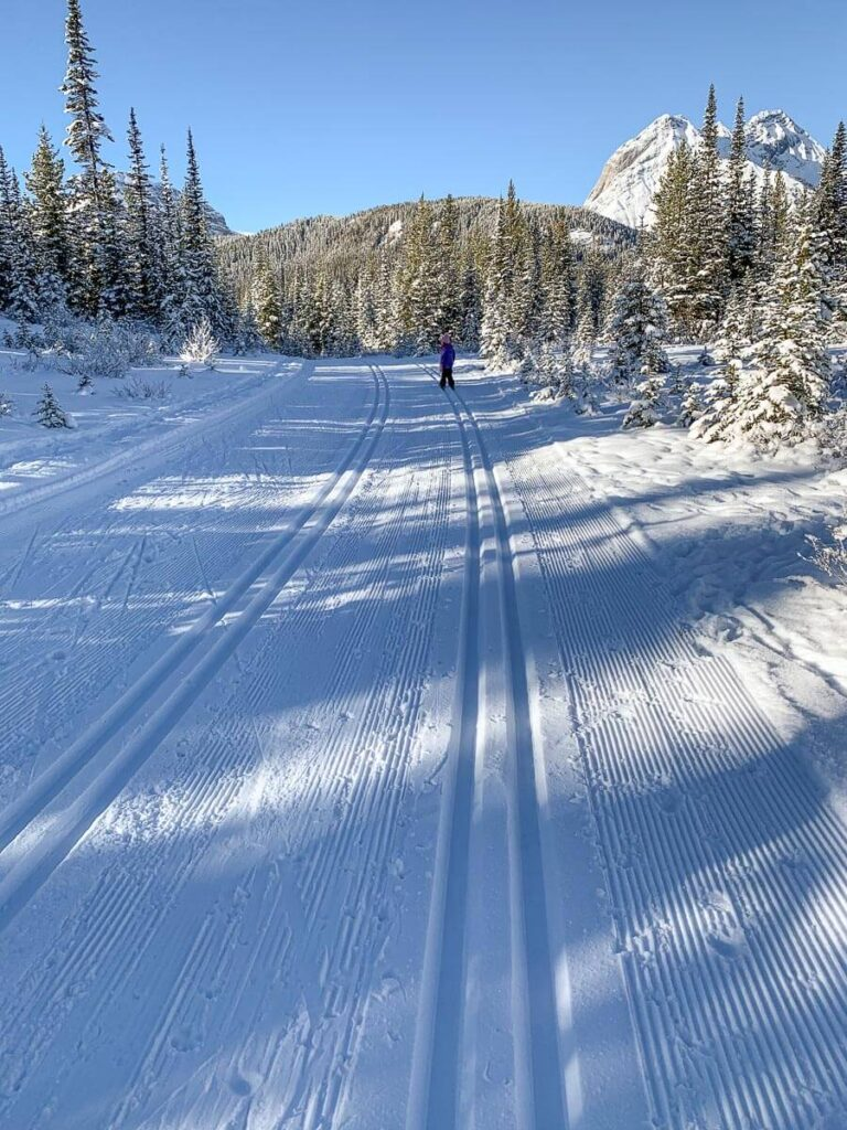 The wide groomed trail to the left of the cross-country ski tracks on Watridge Lake Trail is for fat biking, snowshoeing and winter hiking