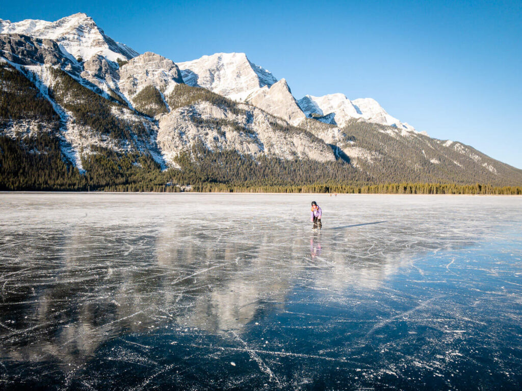 outdoor ice skating in kananaskis