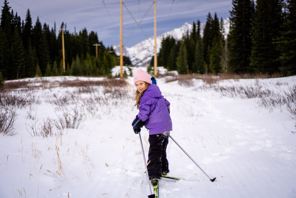 Family friendly Kananaskis cross country skiing on the Braille Trail