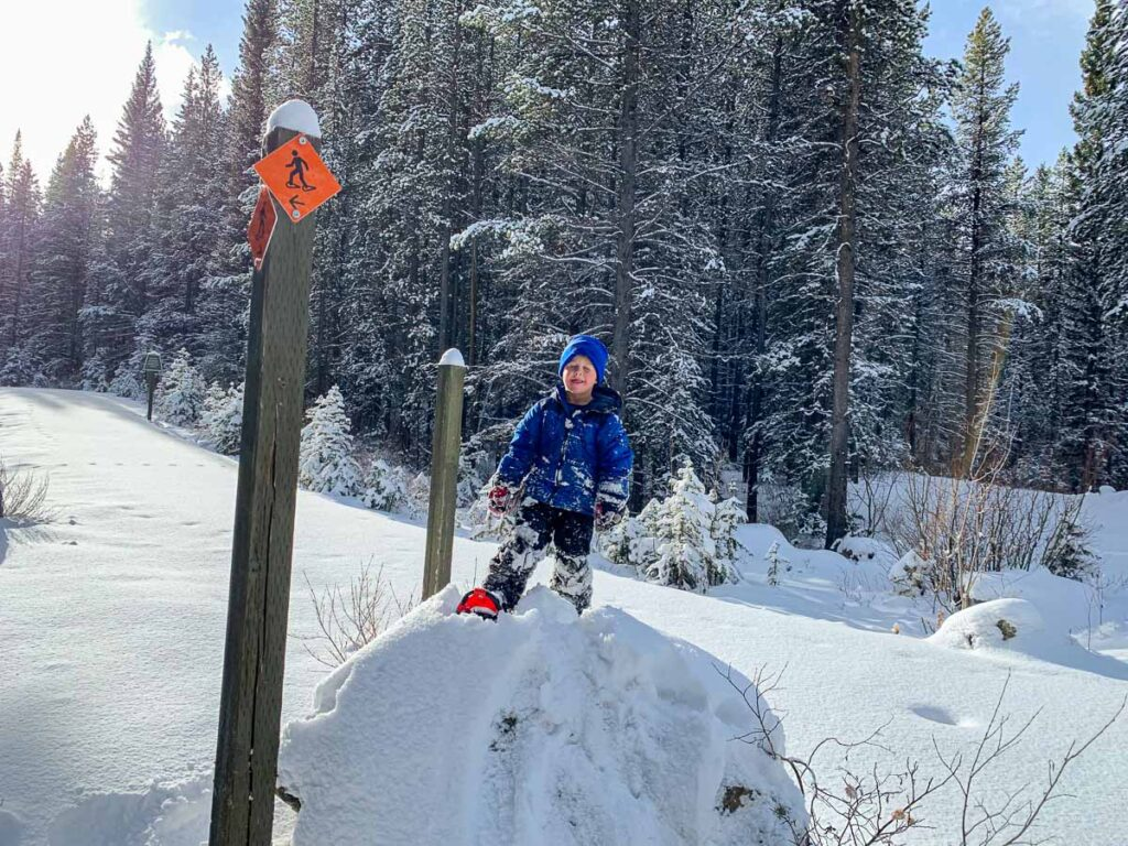 A kid climbs on a rock while snowshoeing the Canyon trail in Kananaskis, Alberta