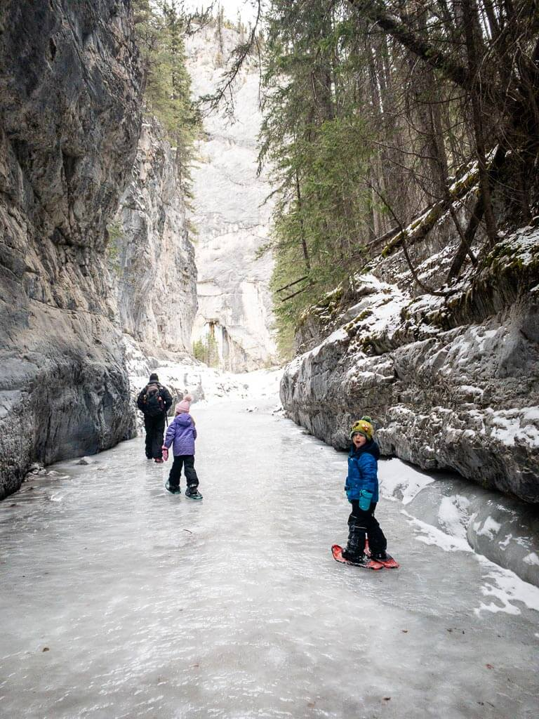 kids can use snowshoes on the ice walk at grotto canyon trail