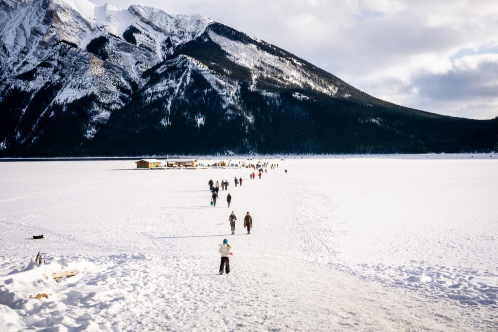 lake minnewanka ice skating in banff