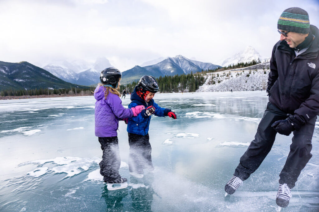 ice skating in banff with kids