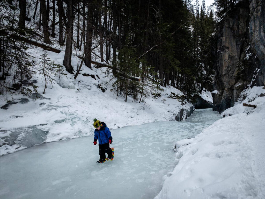 The Grotto Canyon icewalk near Banff has a mild incline and is considered easy
