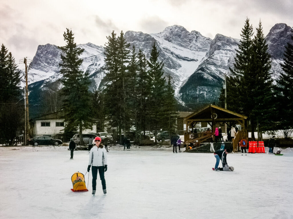 skating in canmore pond