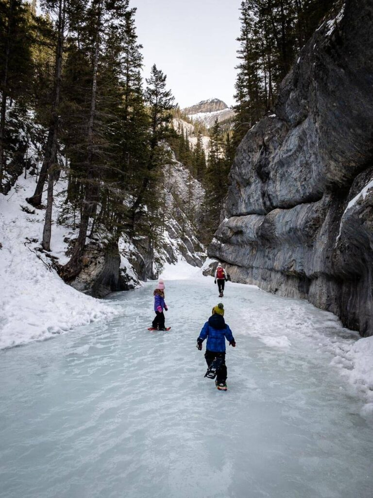 With proper traction devices, Grotto Canyon Trail is an easy winter hike in Kananakis