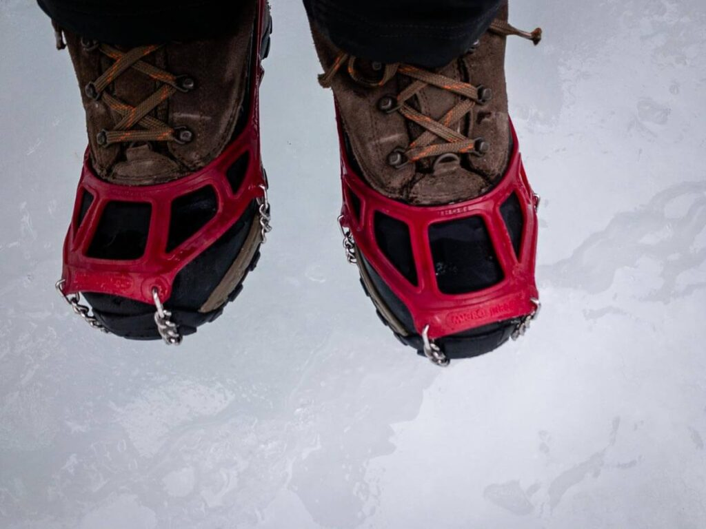 Wear waterproof boots on the Grotto Canyon icewalk in case your feet go through the ice into the running water below