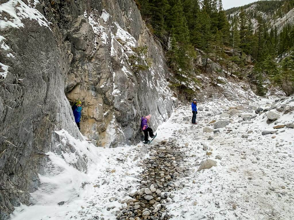 Snow covered rocks on the trail instead of ice on the Grotto Canyon hike in winter