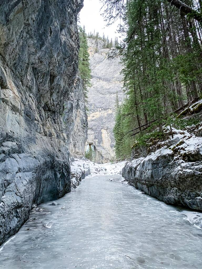 grotto canyon - canmore winter hikes