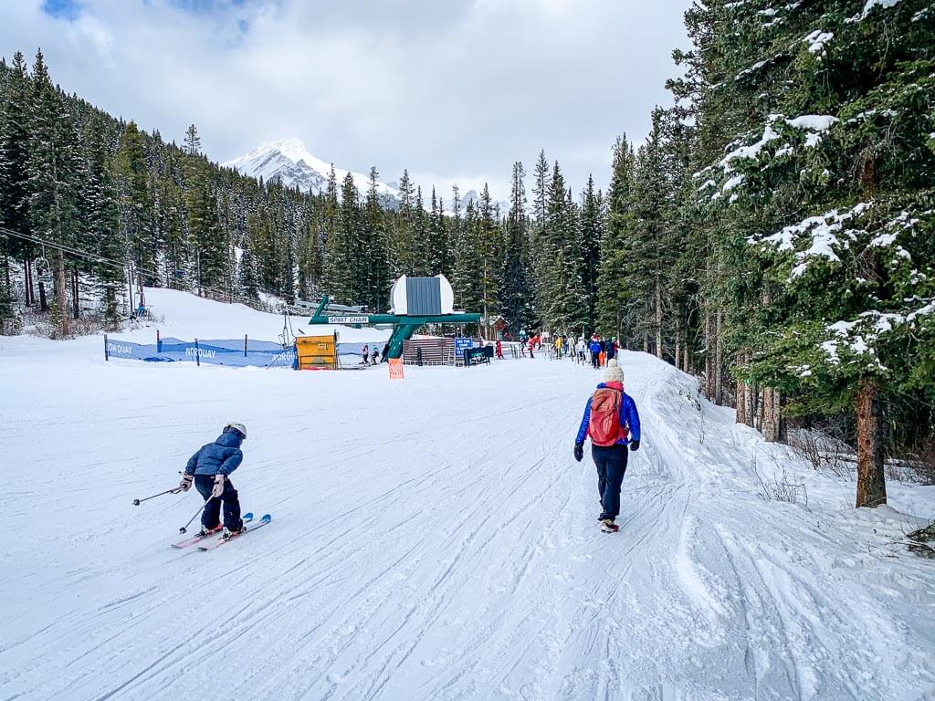 The Norquay snowshoe trail to Cascade Mountain shares the trail to the Spirit chairlift