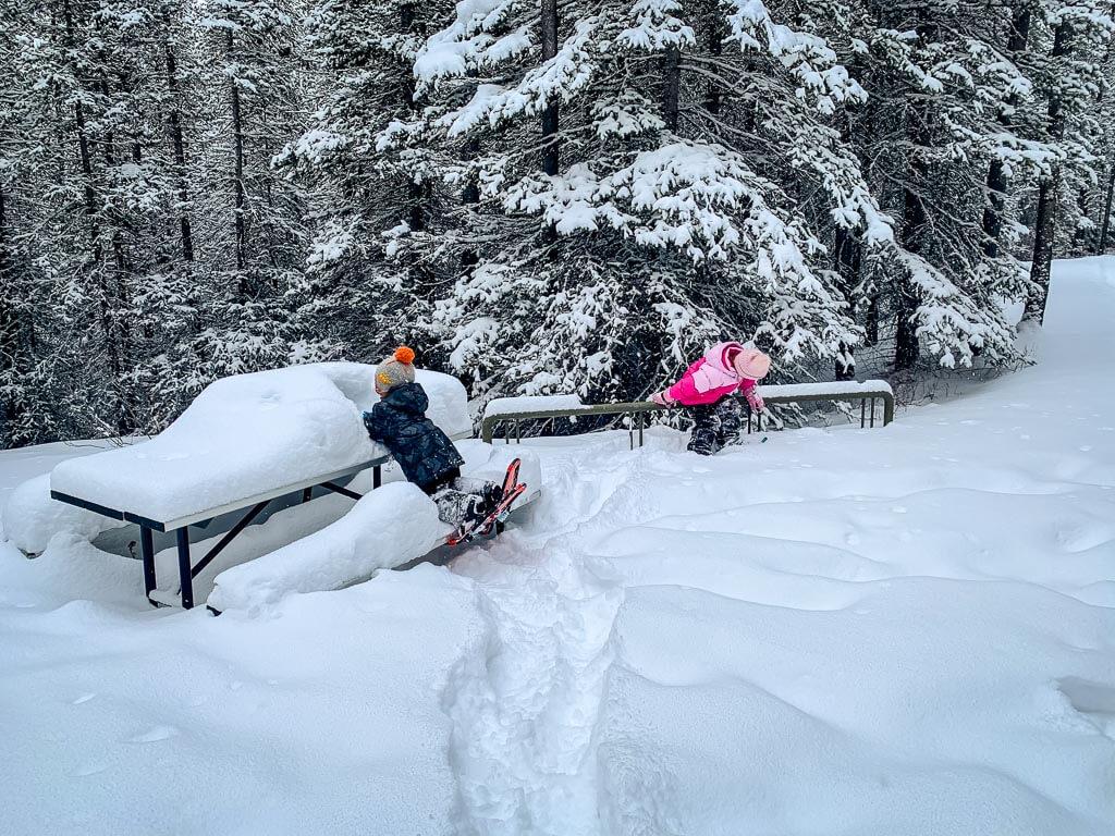 Kids love snowshoeing in Kananaskis