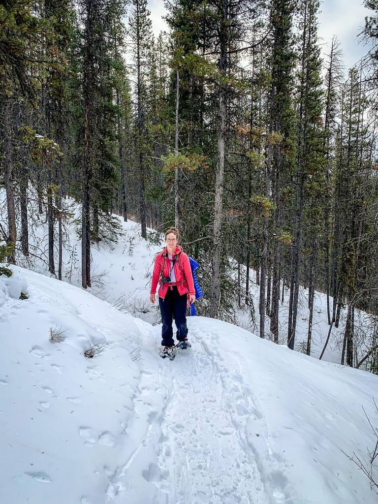 We prefer snowshoes vs microspikes on the steep Cascade Amphitheatre winter trail in Banff National Park