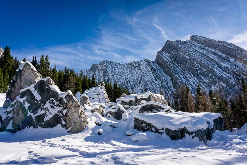 Be aware of Chester Lake avalanche risk when snowshoeing or winter hiking to the Elephant Rocks