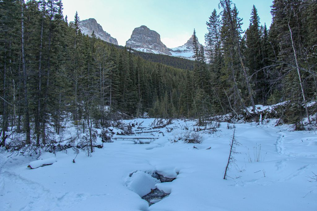 The Highline Trail winter hike in Canmore has some excellent views of the Three Sisters mountain