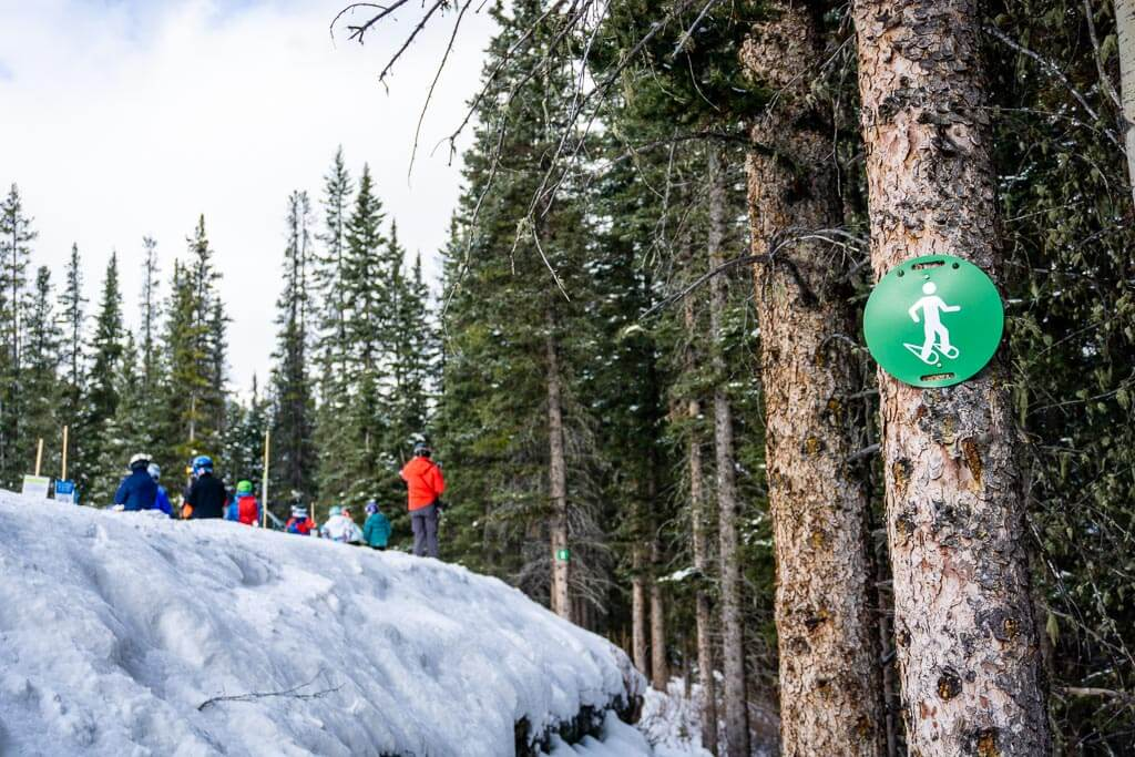 The Cascade Amphitheatre snowshoe trail begins below the Mystic chairlift at Mt. Norquay Ski Area