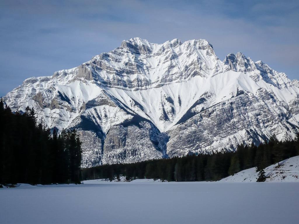 snowshoeing banff national park at Johnson Lake