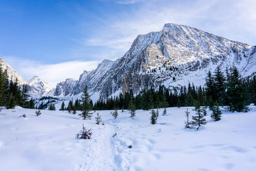 Mt. Chester as seen from the Chester Lake snowshoe trail in Kananaskis Country, Canada