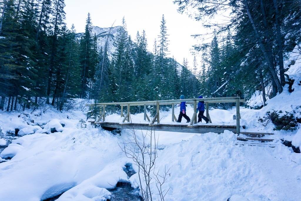 Kids love the Heart Creek bridges - even in winter!