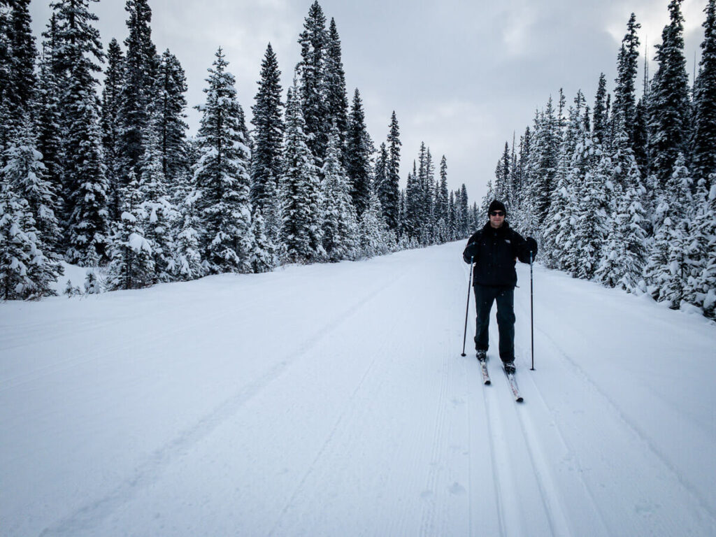 Dress in layers while cross-country skiing in Banff in winter