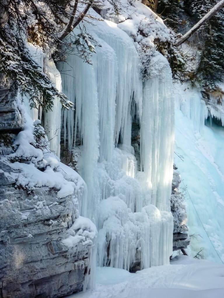Frozen waterfall at Johnston Canyon Banff
