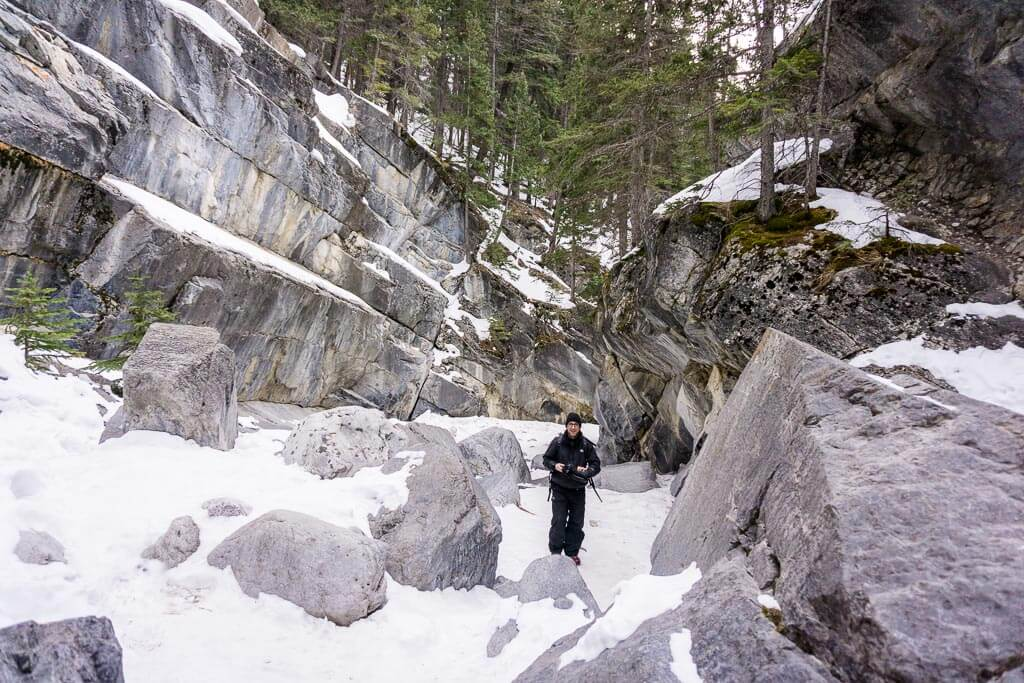 Dressing in layers is important while hiking in Kananaskis in winter