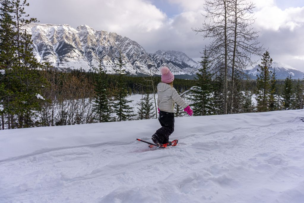 The Penstock Loop is a kid-friendly snowshoe trail in Kananaskis which is fun to do in January