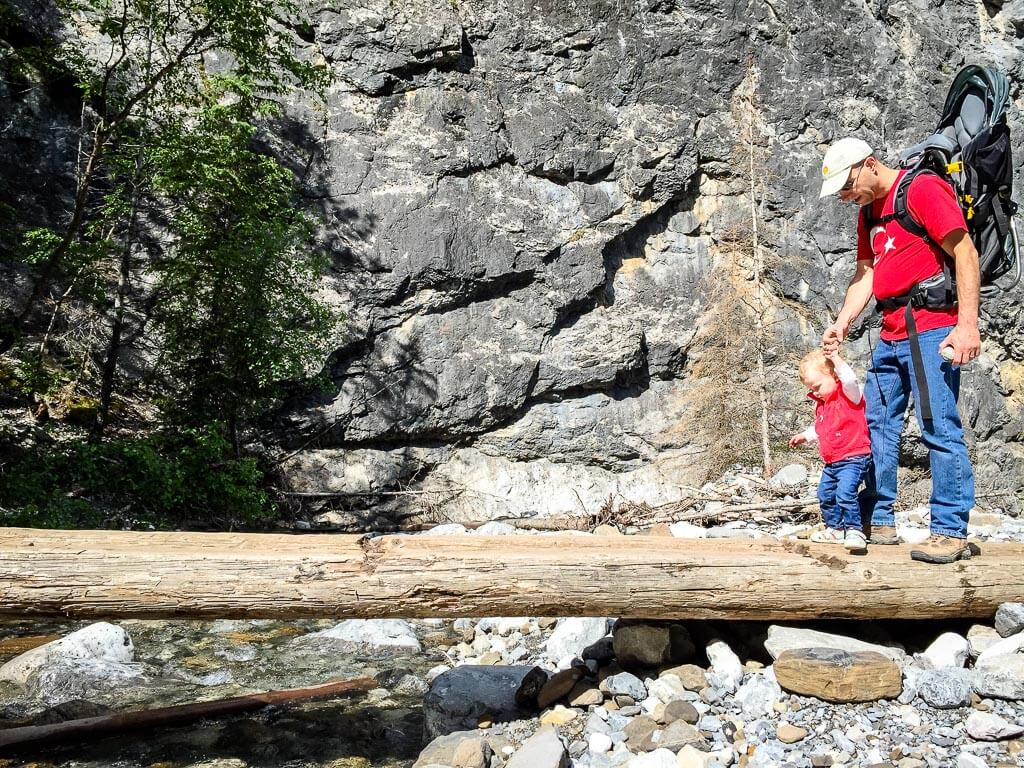 The fun wooden bridges on the Heart Creek Trail make this is popular Kananaskis family hike