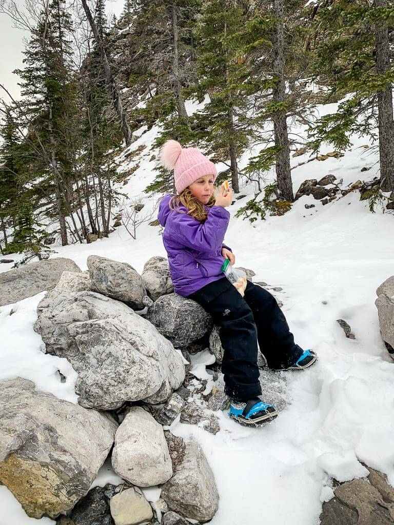 Hiking with kids in Kananaskis means stopping for snacks and lunch to keep energy levels up