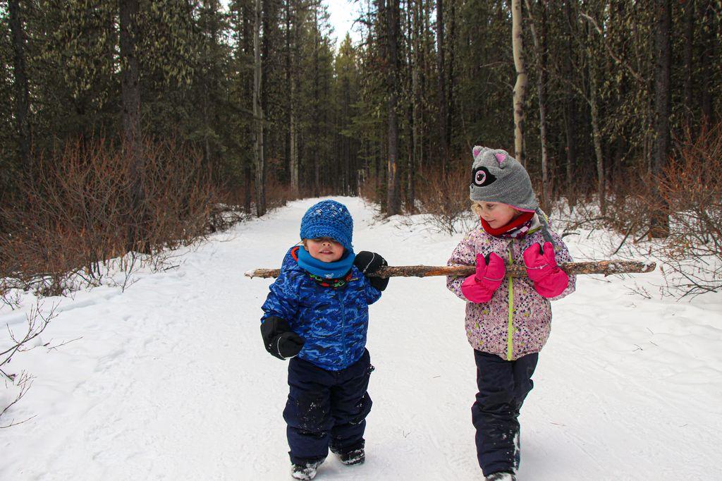 Troll Falls in winter is a popular kid-friendly Kananaskis hike