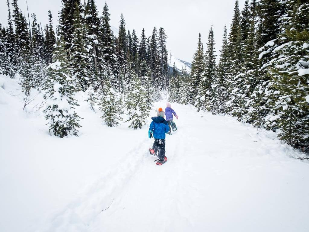 Kids love playing in the snow while snowshoeing in Kananaskis