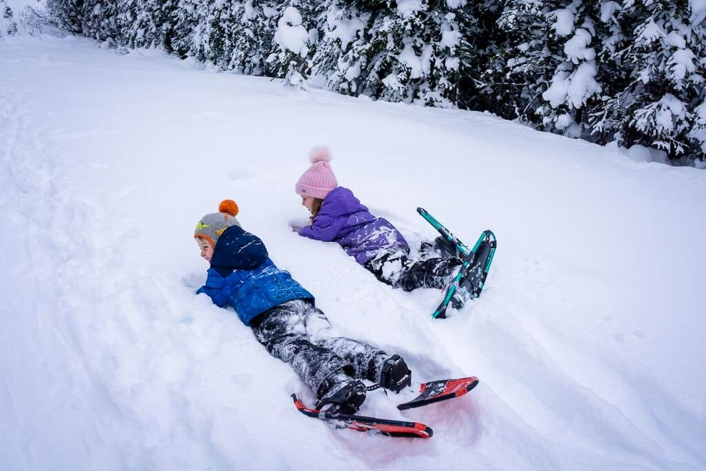 The deep snow makes the Shark Lake snowshoe trail very kid-friendly