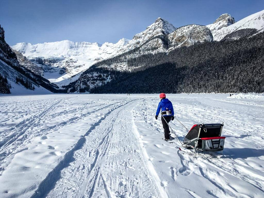 lake louise snowshoeing with kids in chariot