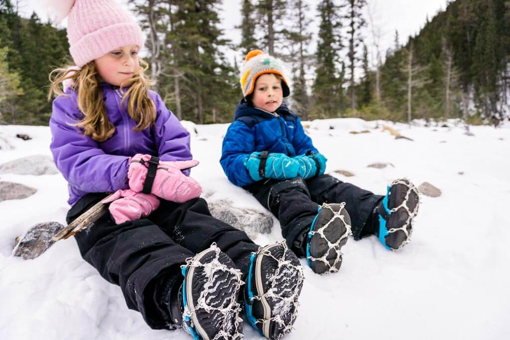Traction devices for kids are helpful on the kid-friendly Jura Creek Trail near Canmore, Alberta
