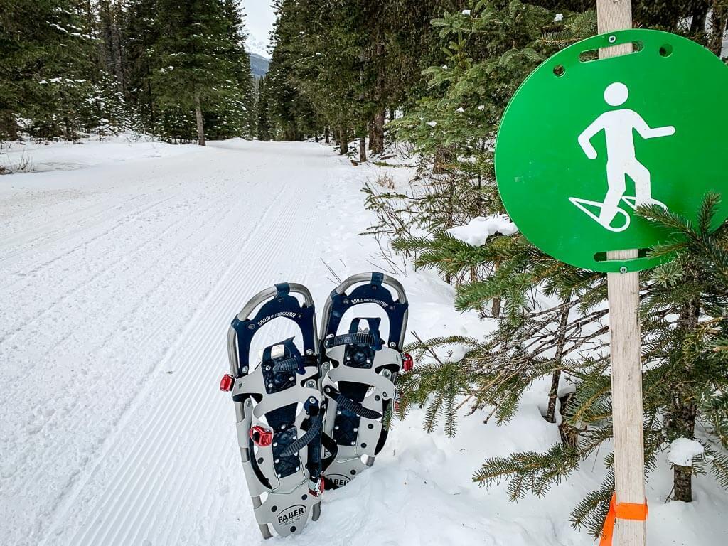using snowshoes for Lower Kananaskis Lake snowshoe trail